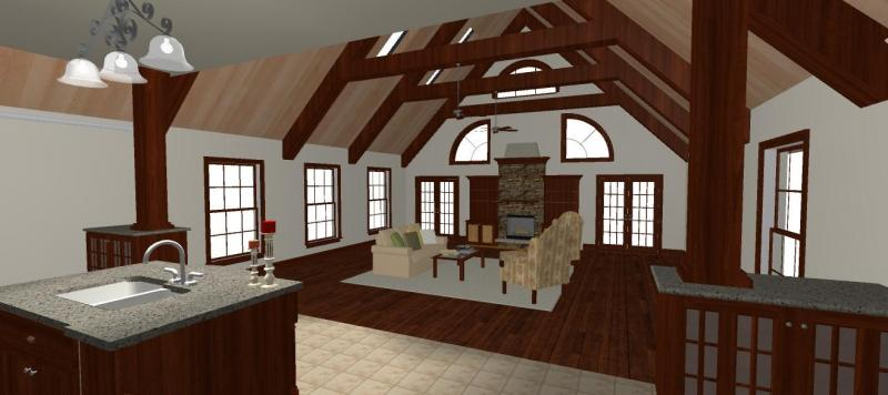 2 steps down from the kitchen is the great room with beams and skylights