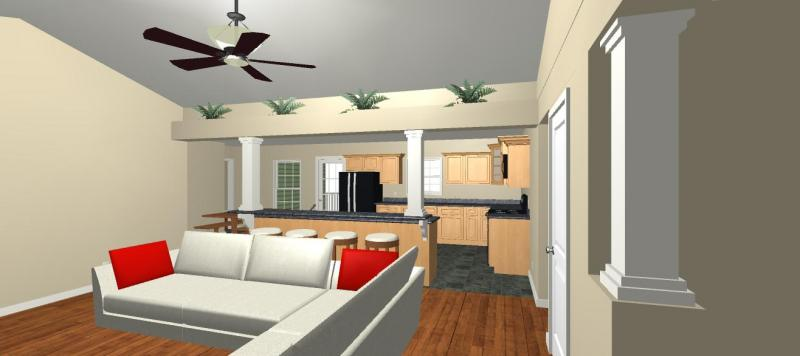 vaulted ceiling with plant shelf above breakfast bar