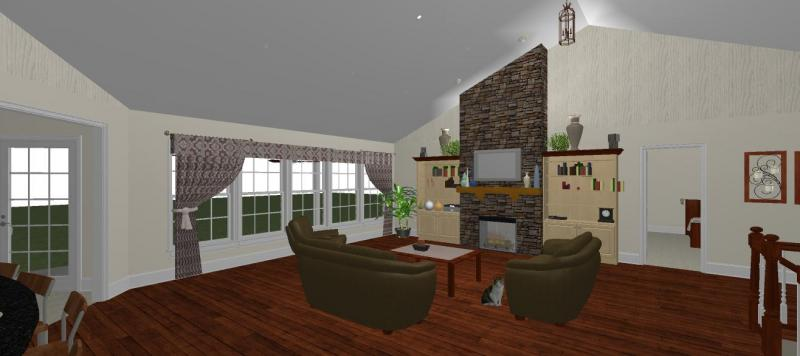 living room that shows the vaulted ceiling with stone fireplace